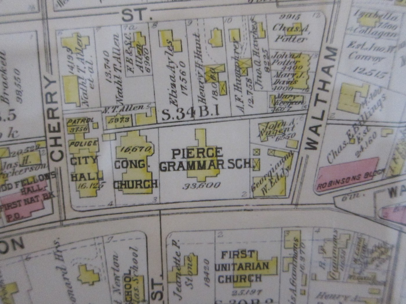 Close-up of 1917 Map of West Newton