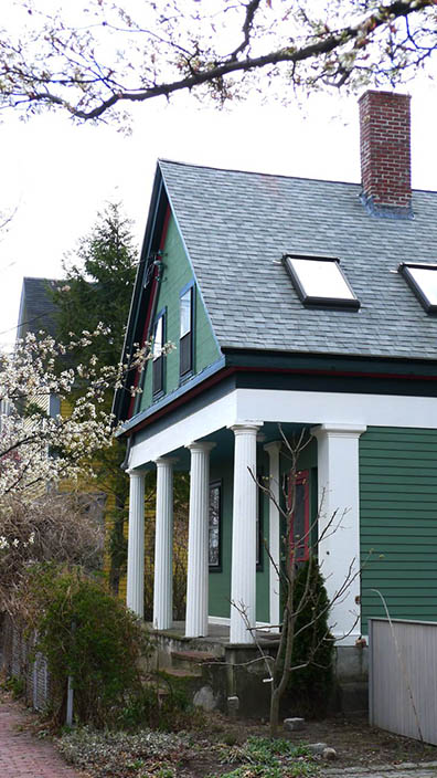 Green Greek Revival Cottage