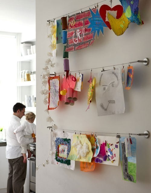 Clothesline of Kids Art