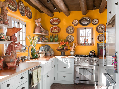 Yellow Kitchen with Santa Fe Style