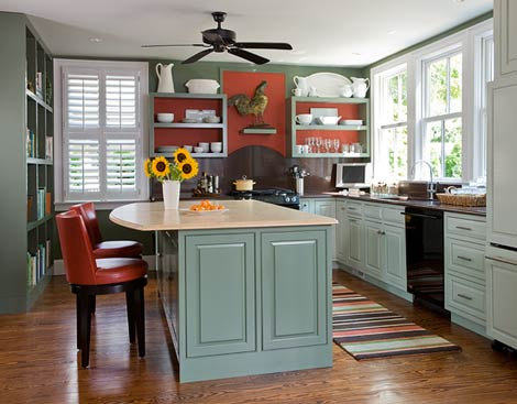 Green and Red Kitchen - Traditional Home