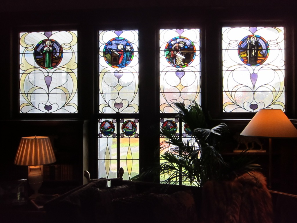 Stained Glass in Gentleman's Library, JLB Show House 2012