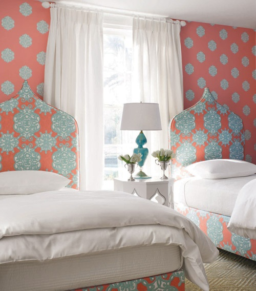 Coral & Turquoise Twin Bedroom