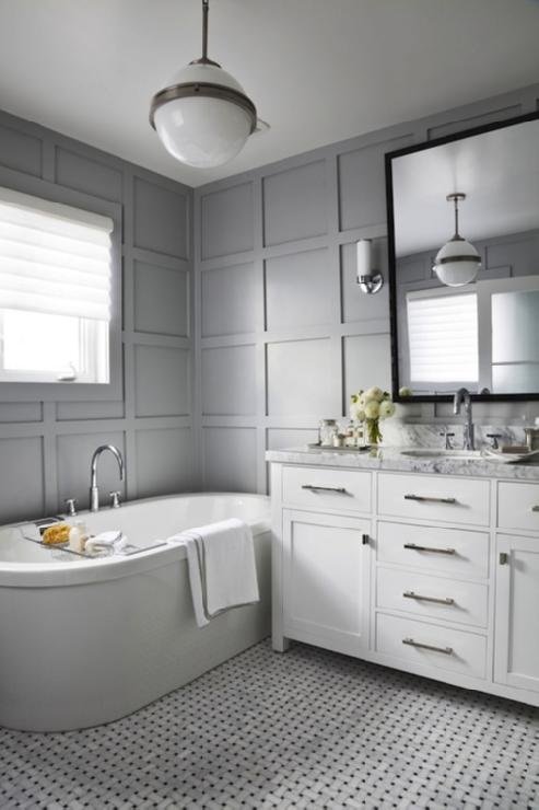 White & Gray Bathroom with Carrara Marble