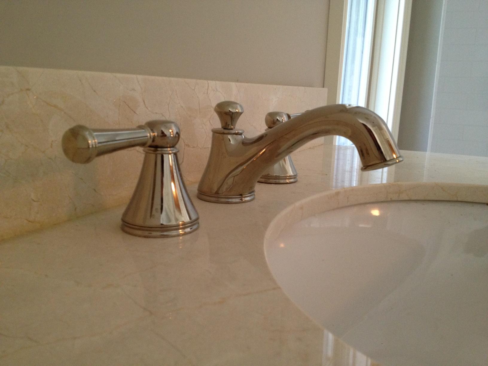 Polished Nickel Faucet, Crema Marfil Countertop, Benjamin Moore Revere  Pewter Paint