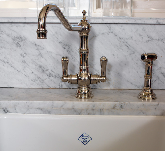 polished nickel with carrara marble. beautiful ideas. Home Design Ideas
