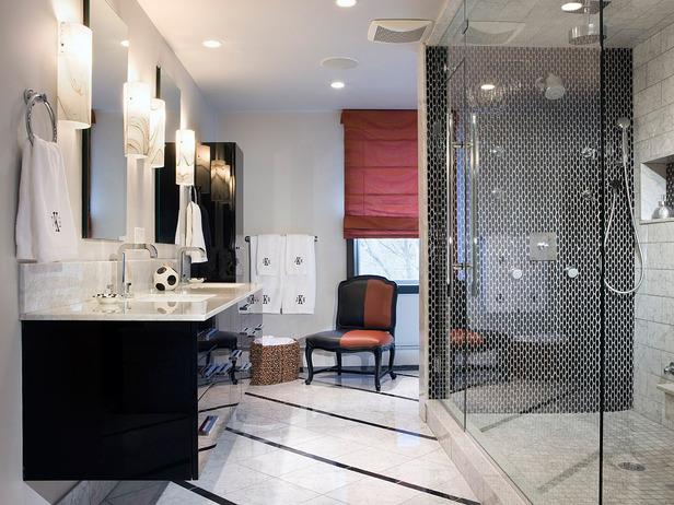 Black and White Bathroom - via HGTV