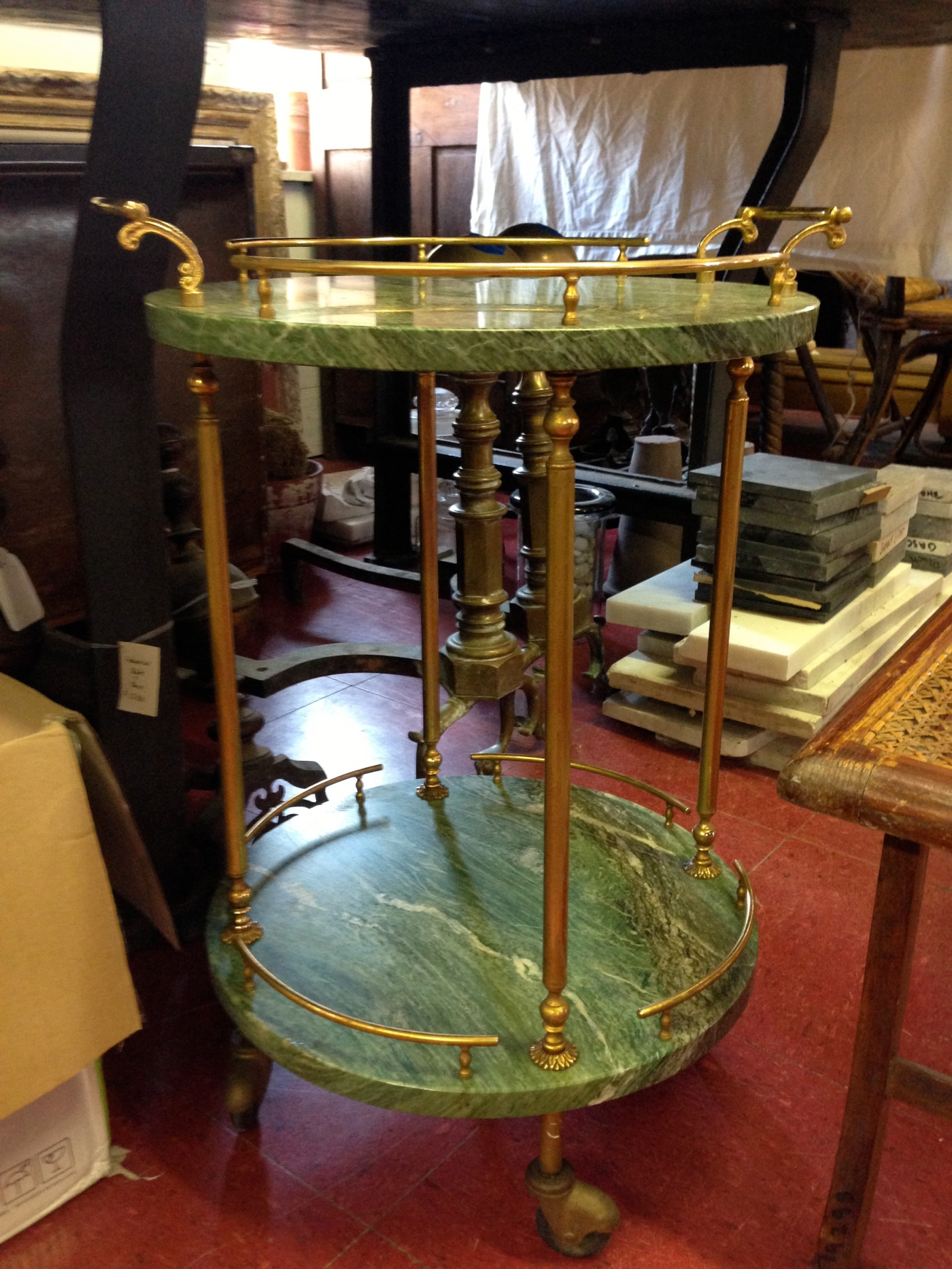 Green Marble/Brass Table on Casters - Berkshire Home & Antiques