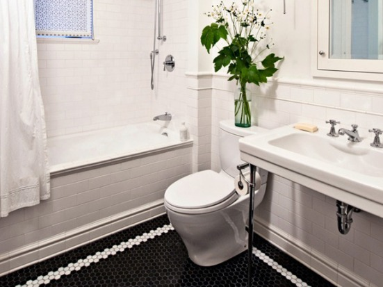 Black and White Bathroom - via HGTV