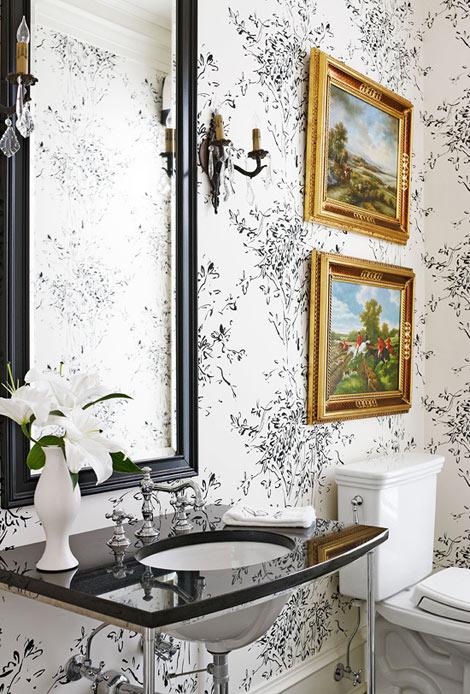 Black and White Powder Room - via Traditional Home