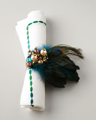 Kim Seybert Peacock Napkin Rings   via Interiors For Families